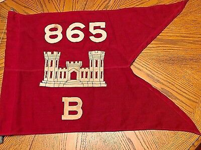 Orig. WWII WW2 865 Co B Army Engineer Battalion Guidon Flag Banner Pacific Wool