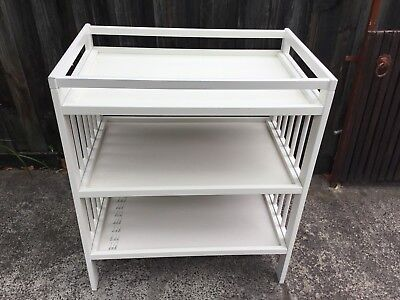 Baby change table with three shelves