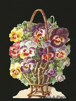 German Embossed Vintage Style Scrap Die Cut Relief - Pansies / Flowers BK5074
