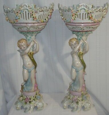 Pair Of Antique Dresden Porcelain Centrepieces With Putti