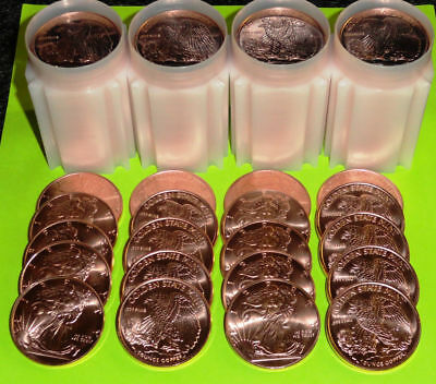 40 Ounces (2 FULL TUBES) of 1 oz Copper Rounds Walking Liberty Bullion Coins