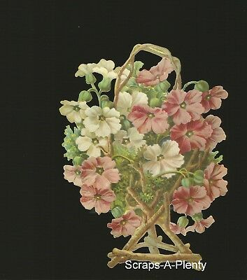 German Embossed Vintage Style Scrap Die Cut - Large Flowers In Basket BK5030