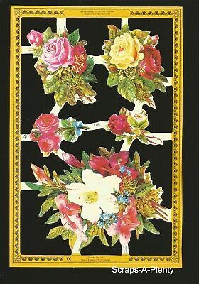 Die Cut Scrap Mamelok English - BOLD Colorful Flowers / Roses (Archives)  A161