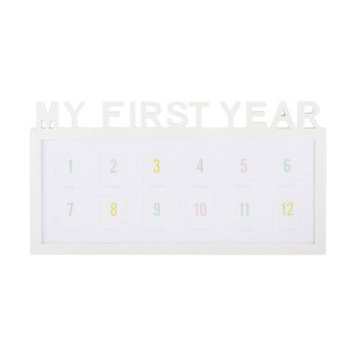 My First Year Photo Frame White 12 Slots Months Baby Memories Picture Wall Hang