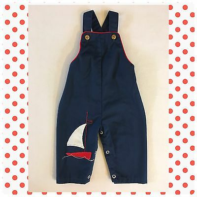 Vintage Navy Blue Overalls Nautical Sailboat Maritime Overalls Size 12 Months