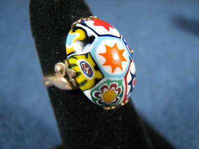 Vintage or Antique 10K Gold Filled Millefiori Micro Mosaic Ring Size 5 1/2