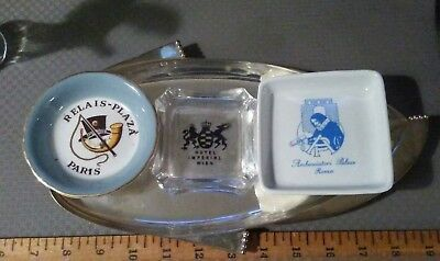 Lot of 3 Vintage Hotel Ashtrays from Europe