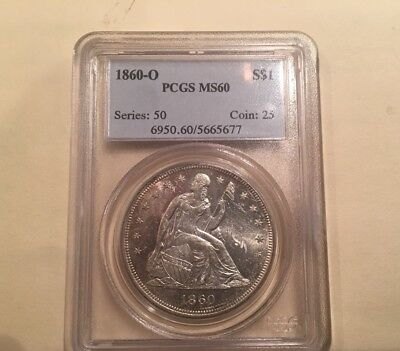 Pcgs 1860-O Ms 60 Seated Liberty Silver Dollar Should Grade Higher