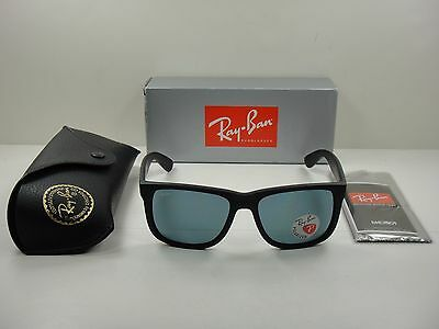 Ray-Ban Justin Polarized Sunglasses Rb4165 622 2V Black Frame blue Lens 55Mm 29704a9c39