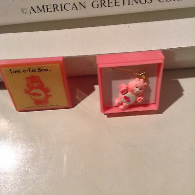 "Care Bears ""love A Lot Bear"" Vintage Necklace American Greetings Corp 1985"