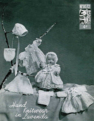 "VINTAGE KNITTING PATTERN  COPY - TO KNIT CLOTHES FOR 10 "" DOLLS- 1940's -3ply"