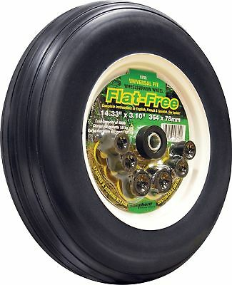 Shepherd Hardware 9709 14-Inch Flat Free Tire, Ribbed Tread, Universal Fit wi...