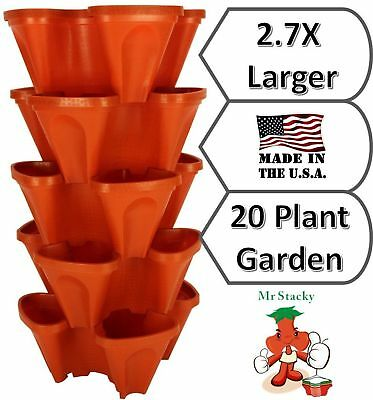 LARGE 64 Quart Stackable Planter 5-Pack - Grow More In Less Space - Plant Pot...