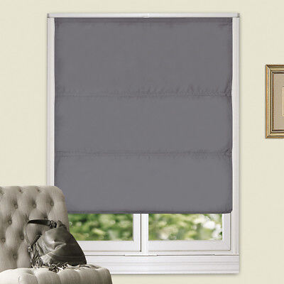 100% Blackout Microfiber Fabric Flat Roman Blind Back Coating 4Colors