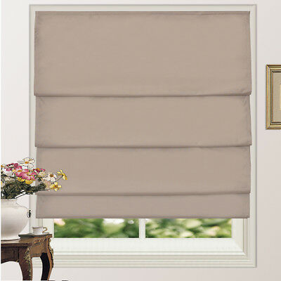 100% Blackout Microfiber Fabric Pleated Roman Shade Blind With Coating 4Colors