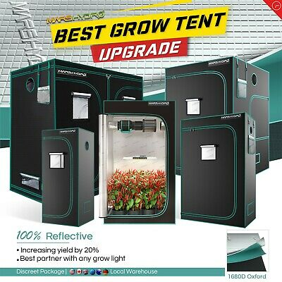 Mars Hydro 1680D Mylar Reflective Hydroponic Grow Tent Room Box Easy-view Window