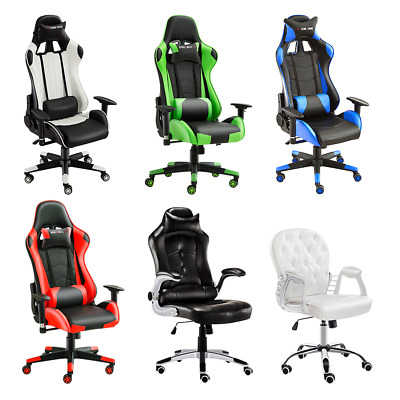 Home Office Chair Executive Racing Gaming Swivel Pu Leather Sport Computer Desk