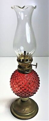 Vintage Retro Ruby Red Glass Miniature Oil Kerosene Lamp | With Shade 26Cm