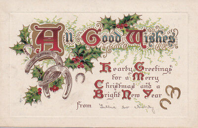 VINTAGE UK POSTCARD All Good Wishes Embossed Christmas Greeting BB London # X284