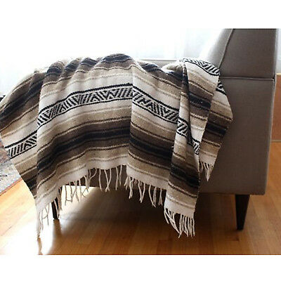 Authentic Mexican Falsa Blanket Hand Woven Mat Bed Blanket 72L x 48W Light Brown