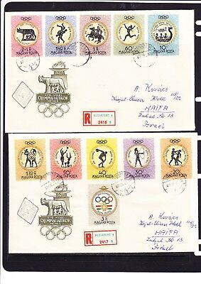 Hungary 1960 Rome Olympics TWO Registered Covers to Israel
