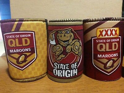 3 State of Origin QLD Queensland Maroons Can Stubby Coolers - Jersey Football
