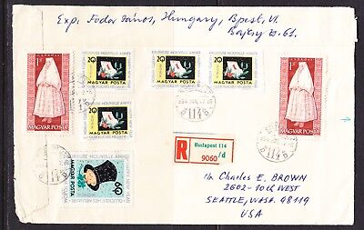 Hungary 1964 Cover R9060 Budapest to Seattle + Back