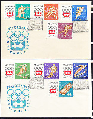 Hungary 1964 Winter Olympics Innsbruck 2 First Day Covers  Unaddressed