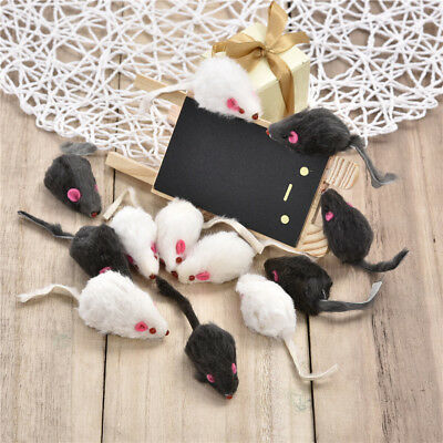 12pcs Fur Mouse Squeaky Sound Rat Mice Toy For Cat Kitten Puppy Pet Play Toys