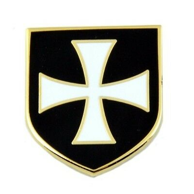 "Knights Templar Crusader White Cross Black Shield Masonic Lapel Pin - 1"" Tall by"