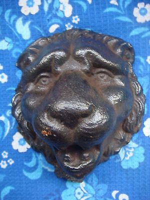 RRR RARE Antique Vintage  Large Cast Iron Architectuural Lion Head 19th
