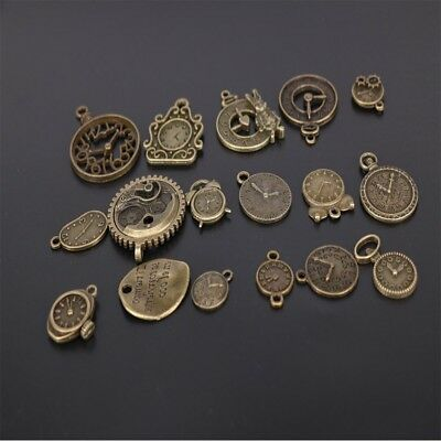 Zinc Charms Vintage Jewelry Making Mixed Clock Pendant Steampunk Clock Pendant