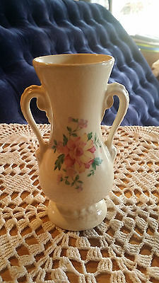 Vintage Royal Copley Rose Floral Vase with Pink Flowers Double Handle