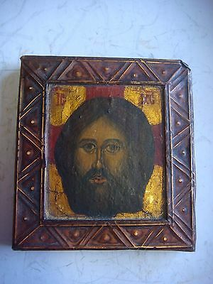 RRR Rare Antique Russian Imperial icon Jesus Christ Hand Painted 19th century