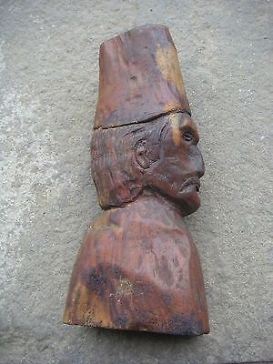RRR RARE Antique Vintage Hand-carved Wooden Bust of a Man 19th century
