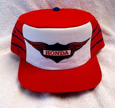 Retro Honda Motorcycles Hat Cap 100% Polyster Snap Back Red and White wboc
