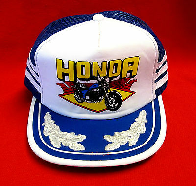 Retro Honda Motorcycles Hat Cap 100% Polyster Snap Back Blue and White wboc