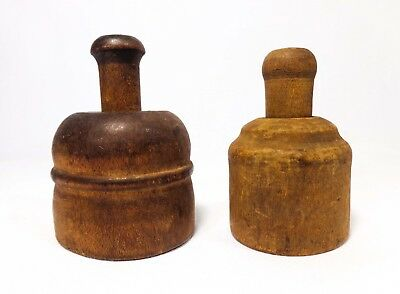 Antique Early-To-Mid 19Th Century Primitive Pair Turned Wooden Sm Butter Presses