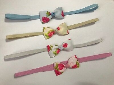 Tiny Floral Rose Bow On Skinny Elastic Pastel Baby Girl Headband Newborn + Lots