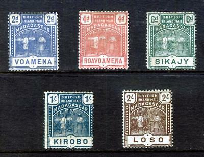 British Madagascar 1895 Malagasy Runner Sg 57 - 61: 5 Stamps Mounted Mint