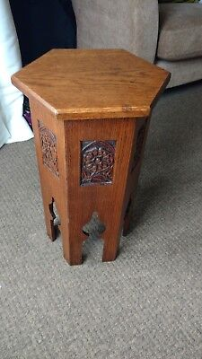 Arts and Crafts oak occasional table in Morrocan style