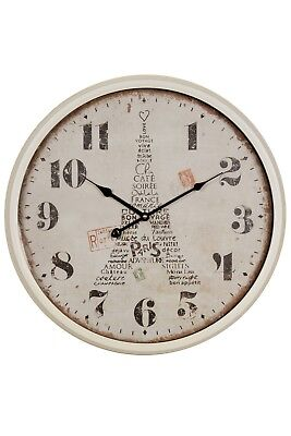 Wall Clock White Metal Eiffel Tower Paris Watch Cottage Shabby Chic Antique Look
