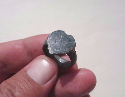 late Roman ~ Byzantine bronze nicely carved ring,date circa XV century A.D.