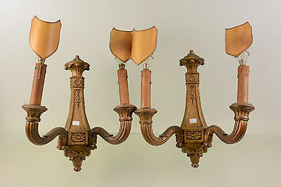 PAIR exclusive French wood carved Wall sconces lights 1900