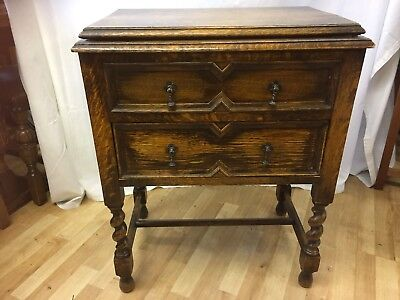 Antique Solid Oak Unique Hand Made Side Table/ Sewing Table