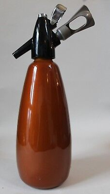Vintage Soda Siphon BOC Burnt Orange with  bulb holder, hostmaster