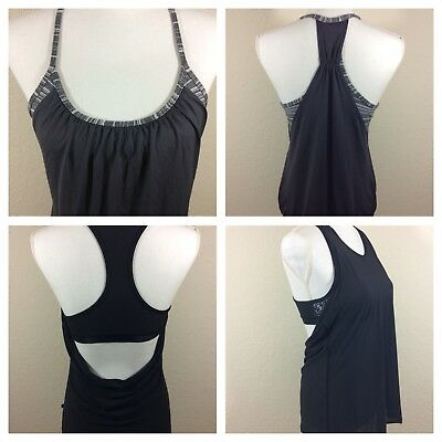 Womens Lululemon Athletica Lot Of 2 Sports Bra Tank Top Combo Gray & Black