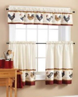 3PC SET MAINSTAYS Rooster Valance and Kitchen Curtains ...