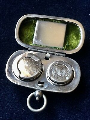 RARE Edwardian Nickel Plated Sovereign Case & Stamp Case Excellent Condition