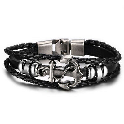 *NEW* Authentic Leather Multilayer Stainless Steel Anchor Bracelet